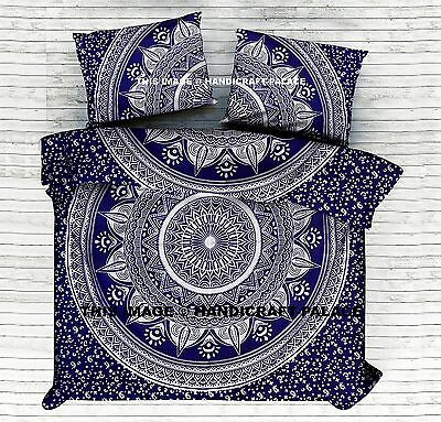 Indian Blue Ombre Mandala Duvet Cover King Quilt Cover Hippie Throw Doona Cover