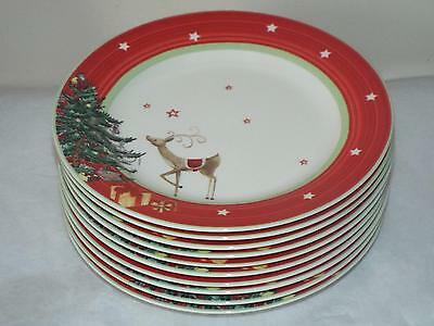 """SET OF 10 Spode Christmas Tree Jubilee 8"""" SALAD PLATES RED New 1st Quality."""