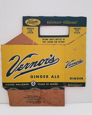 Vintage 1950s Vernor's Cardboard Six Pack Bottle  Carrier Vernors