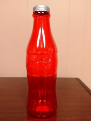 """NEW Coca-Cola 12"""" Tall Coke Bottle Red Clear Plastic Coin Money Bank Collectable"""