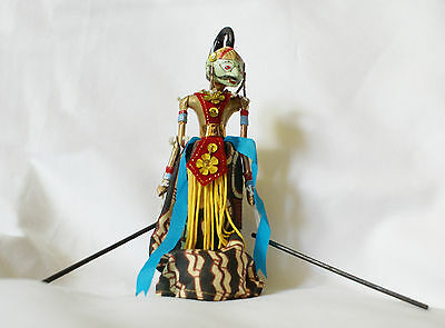 Wayang Golek Indonesian Rod Puppet on Stand 7 1/4 Inches Tall Cowardly Hipocrisy