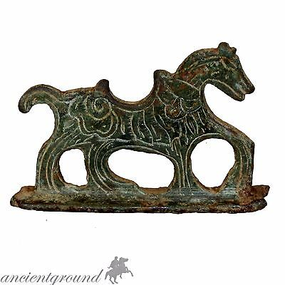 An Amazing Roman Bronze Intaglio Horse Handle From A Fire Starter Or Razor 200-3