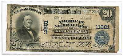 1902 $20 Banknote Plain Back The American NB of Klamath Falls, OR Ch #11801