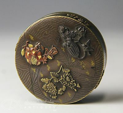 Antique Japanese Bronze Mixed Metal Covered Round Box