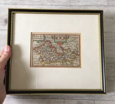 Original Antique Framed Map Of Barkshire Hand Coloured Published In 1630