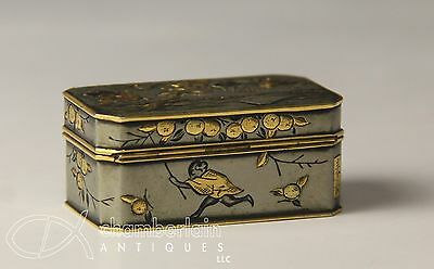 Unusual Old Japanese Mixed Metal Box With Great Detail - Signed