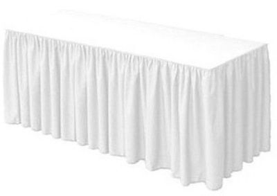 URBY 4 ft Fitted Table Skirt Cover Wedding Banquet with Top Topper Tablecloth...