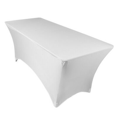 URBY 4' ft Spandex Fitted Stretch Tablecloth Rectangular Table Cover White 4'
