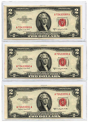 Set of 3 Consecutive 1953B $2 United States Legal Tender Notes UNC Fr #1511