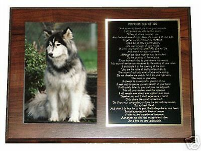 CUSTOM COMPANION SERVICE DOG POEM PLAQUE & PICTURE FRAME - Can be Personalized