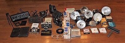 Vintage Camera Flash Filters Plates Timer Flash Bulbs Cases - For Parts & Repair
