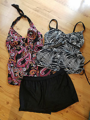 Liz Lange Maternity Swim Tops Bottom Bathing Suit Tankini 3pc Lot SZ M