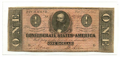 1864 $1 CSA Confederate States of America Note T-71 PF-1 CR-576 D