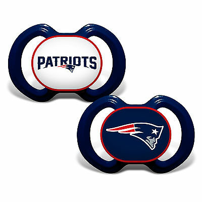 New England Patriots Pacifiers 2 Pack Set Infant Baby Fanatic BPA Free NFL