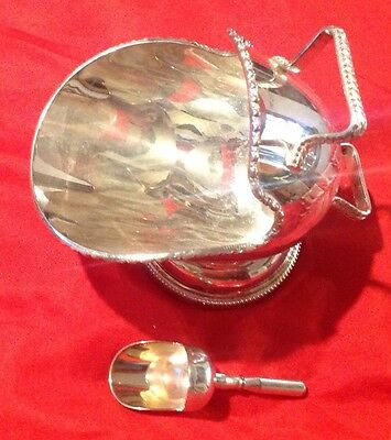 Plated Table Scuttle With Spoon. Fruit Sugar Chutney Etched Design