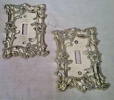 2 1967 Vintage American Tack & Hardware Die Cast Metal Ornate Wall Switch Plates