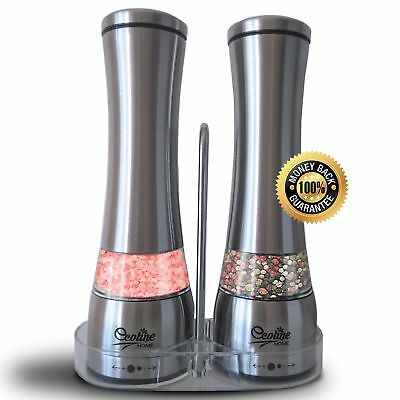 ECOLINE HOME Salt and Pepper Grinders Mills Set 2 in 1- Stainless Steel Manua...