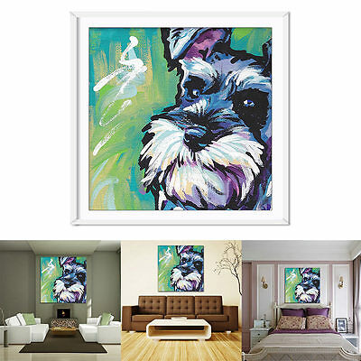 Home Schnauzer Wall Hanging Painting Canvas Picture Print Animal Decor Frameless