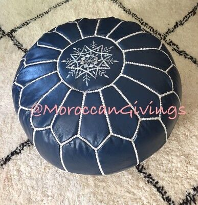 Moroccan Handcrafted Marlin Blue Unstuffed Leather Pouffe / Floor Cushions