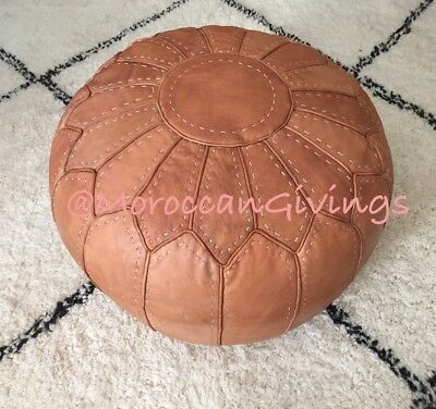 Moroccan Handcrafted Contemporary Unstuffed Leather Pouffe / Floor Cushions /