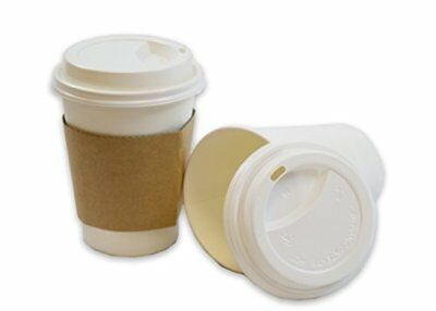 2dayShip White Paper Hot Coffee Cups with Lids and Sleeves, White, 12