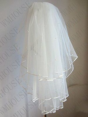 Sunshinesmile 3-tier Wedding Bridal Veil Pearl Veil with Comb
