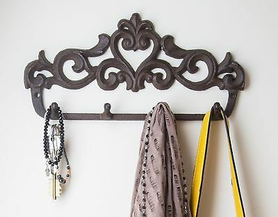 Decorative Cast Iron Wall Hook Rack - Vintage Design Hanger with 4 Hooks - Fo...