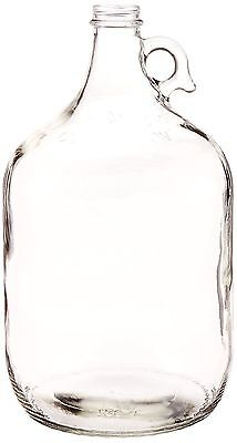 North Mountain Supply 1 Gallon Clear Glass Jug With Handle and Black Metal Lid