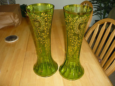 Vintage/antique Pair Matching Bohemian Art Glass Vases/green W/ Orange Flowers