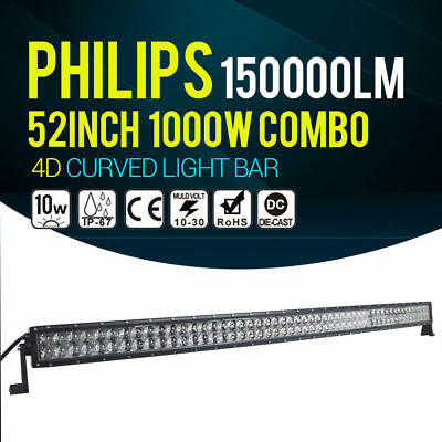 """Philips 52inch 1000W Curved Spot Flood LED Work Light Bar Offroad Lamp 4WD 54"""""""