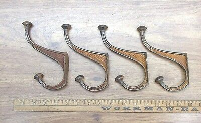 "4 Antique Cast Iron Decorative Tack Hooks,6-1/8"" Tall,Rusty & Crusty,& Cool!"