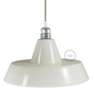 Industrial Ceramic Lampshade for pendant, white glaze, Made In Italy.