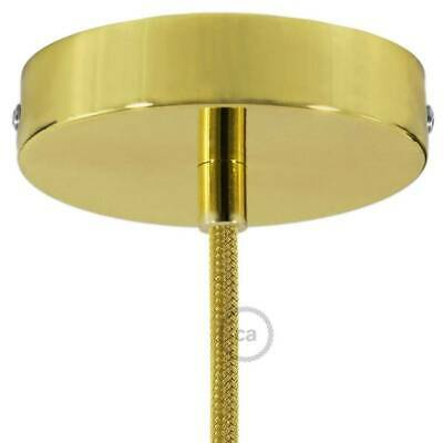Brass 120 mm ceiling rose kit with cylindrical brass plated cable retainer.
