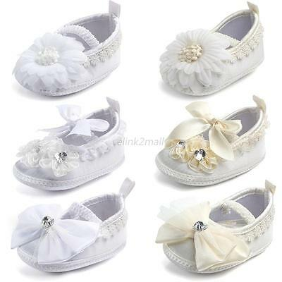 Infant Baby Girl Flower Slip On Soft Sole Shoes Toddler Baptism Prewalkers 0-9M