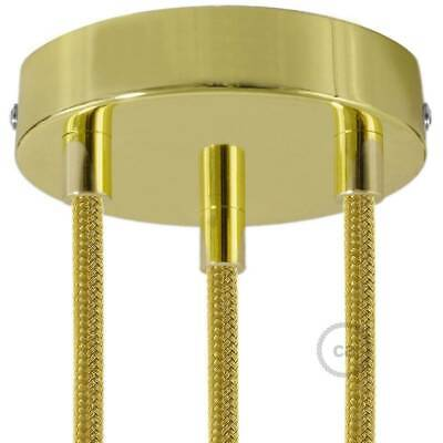Brass 120 mm 3 hole ceiling rose kit with cylindrical brass plated cable retaine