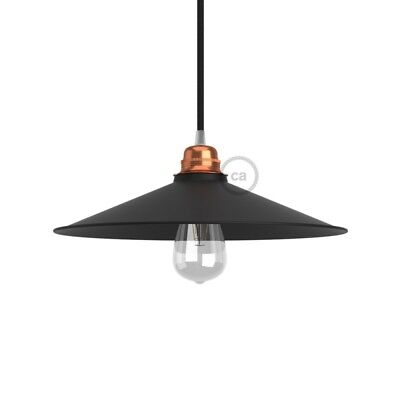Swing Lampshade - E27 concave metal plate, black satin finish with black interio