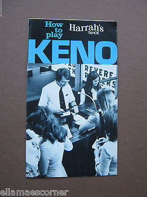 Vintage 1970s Harrah's Casino How to Play Keno Booklet