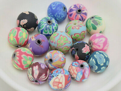"250 Mixed Colour Polymer Clay Round Beads 10mm (3/8"") Jewelry Finding"