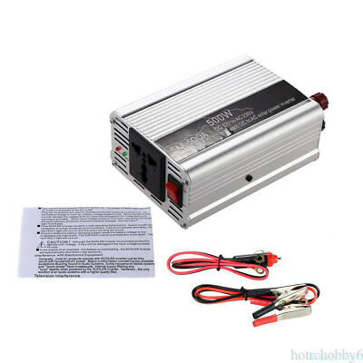 500W DC 12V to AC 110V Modified Sine Wave Power Inverter Charger Universal Plug
