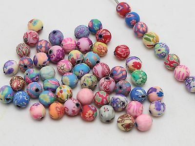 """500 Mixed Colour Polymer Clay Round Beads 6mm(1/4"""") Spacer Jewelry Finding"""