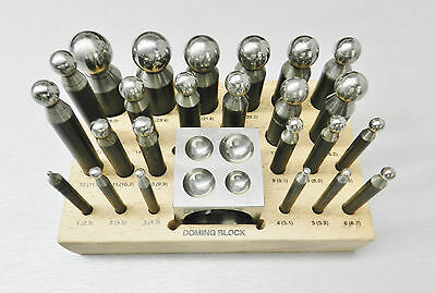 Dapping Set Punches & Block Steel Forming 24pc for Jewelry Repousse Silversmith