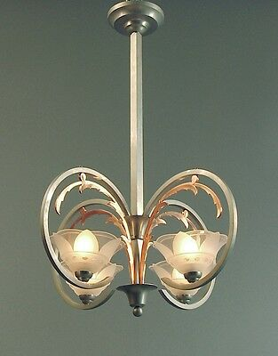 A Copper and Nickel French Deco Chandelier, 4 Killer Wheel-cut, Frosted Shades!