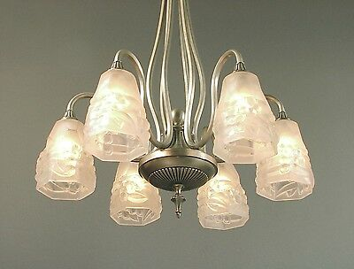 An Elegant, Curvaceous 6-light French Art Deco Chandelier with Signed Ros Shades