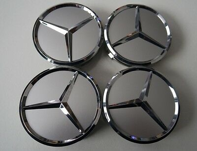 4x Mercedes Benz WHEEL center CAPS 75mm half plated fit for MB alloys FREE P&P