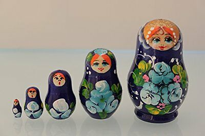 Russian Dolls 5 piece nesting set Blue