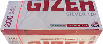 200 Gizeh Cigarette Making Tubes Sleeves - Silver Tip - Brand New & Sealed