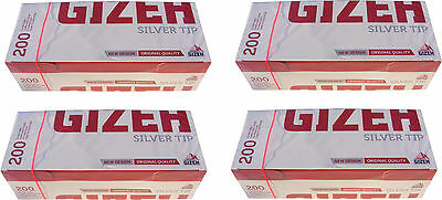 800 Gizeh Cigarette Making Tubes Sleeves - Silver Tip - Brand New & Sealed