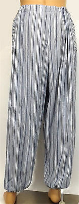 Blue White Stripe Hero Pants Pirate Medieval Baggy Trousers One Size 30-46W LARP