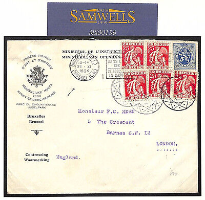 MS156 1934 BELGIUM Brussels Official *Museum Label* ART HISTORY Unusual Cancels
