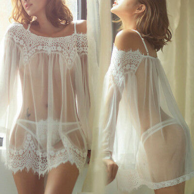 Sexy Women Lingerie Babydoll G-string Chemises Lace Mesh Nightgown Sleepwear Set